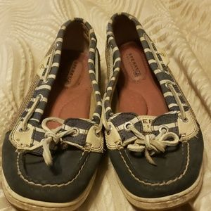 Navy striped sperrys